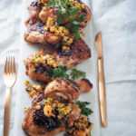 Chargrilled chicken pieces with corn, green chilli and chive salsa