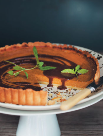 Pumpkin and dark chocolate pie