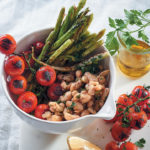 Warm cannellini bean salad with herbs, vine tomatoes & asparagus