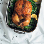 Baby marrow and cream cheese-stuffed deboned chicken with summer greens and herb butter
