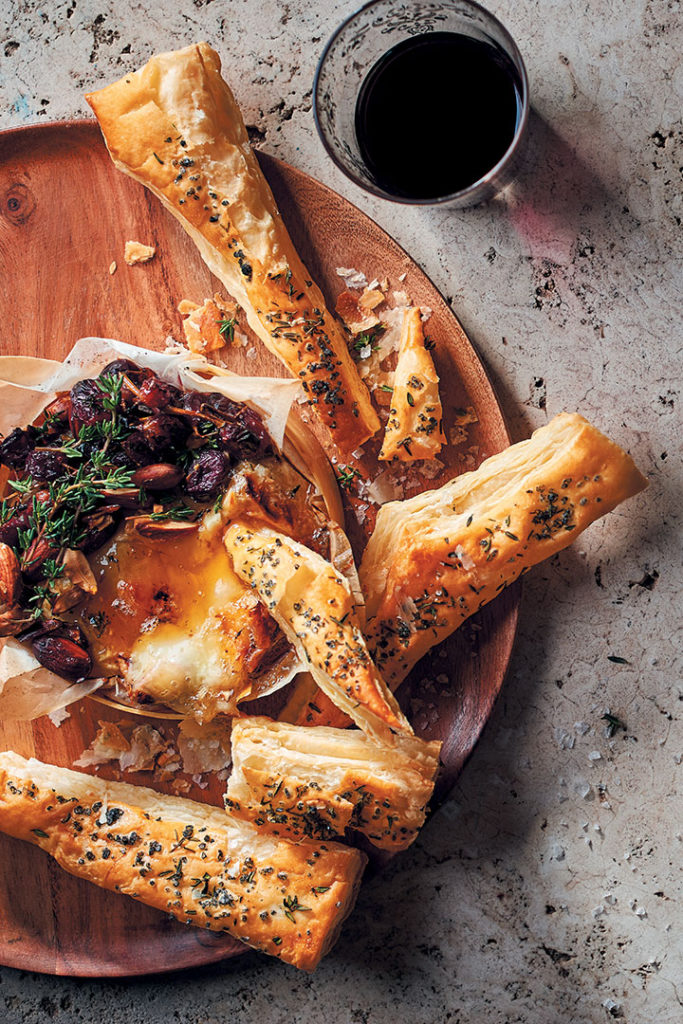 Baked Camembert with honey-roasted grapes, almonds and puff-pastry shards recipe