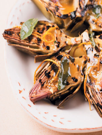 Chargrilled artichokes with orange, honey and sage butter recipe