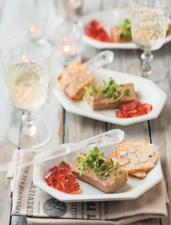 Chicken liver parfait with port jelly and crisp almond Melba recipe