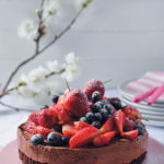 Chocolate mousse cake with summer berries