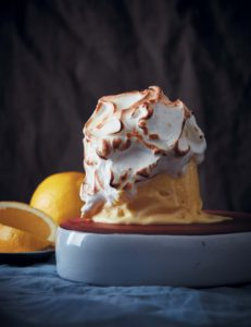Frozen lemon custard with brûléed meringue recipe