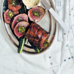 Kale, almond & feta-stuffed fillet with Parmesan and parsley cream