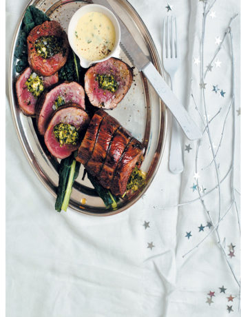 Kale, almond & feta-stuffed fillet with Parmesan and parsley cream recipe
