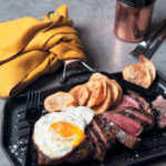 Portuguese steak and egg with round-cut chips