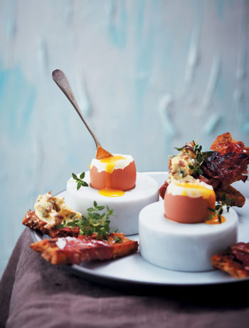 Soft-boiled eggs with prosciutto-wrapped toast soldiers and porcini butter