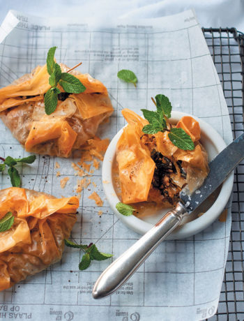 Spiced baby spinach and ricotta filo parcels