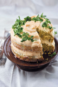 Spring pea cake with lemony cream cheese icing and pea shoots recipe