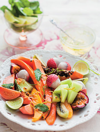 Tropical salad with chilled mint syrup recipe