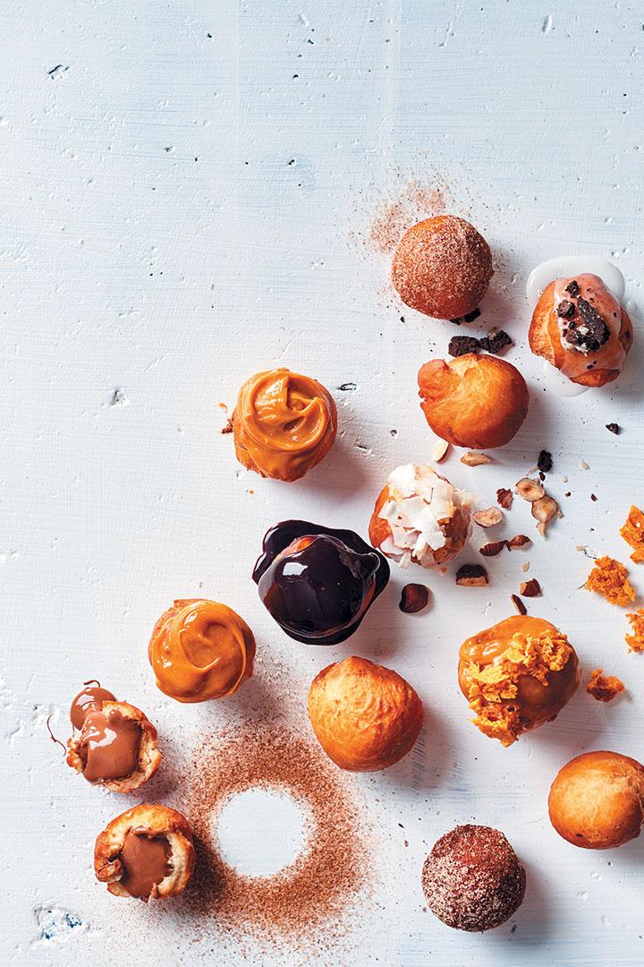 mini doughnuts with caramelised white chocolate ganache