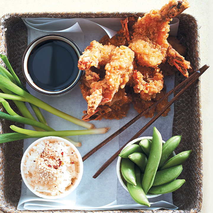 tokyo bento box tempura prawns with sticky rice and vegetables recipe. Black Bedroom Furniture Sets. Home Design Ideas