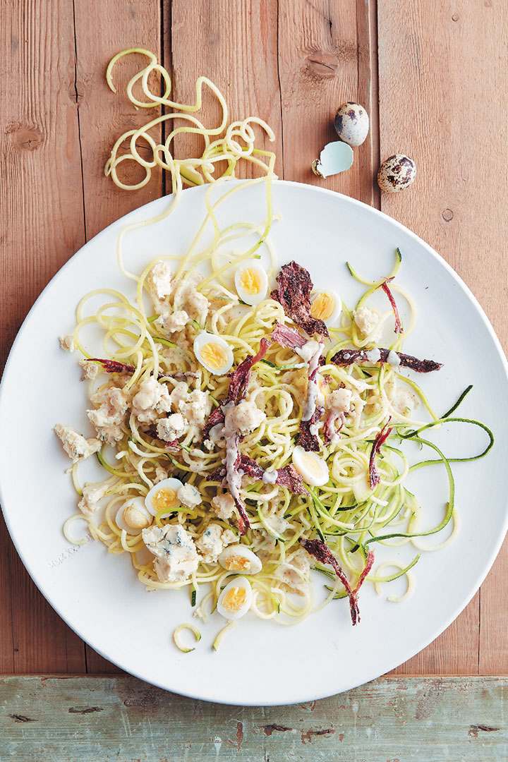 Baby marrow noodles, ostrich biltong and blue cheese salad with white port dressing