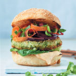 Cannellini bean and courgette burgers with roasted cashew mayo, pickled beetroot and shaved carrot