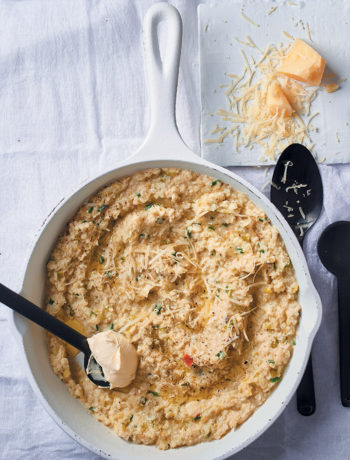 "Cauliflower ""risotto"" with lemon, leeks and mascarpone recipe"