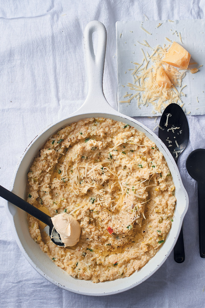 "Cauliflower ""risotto"" with lemon, leeks and mascarpone recipe"