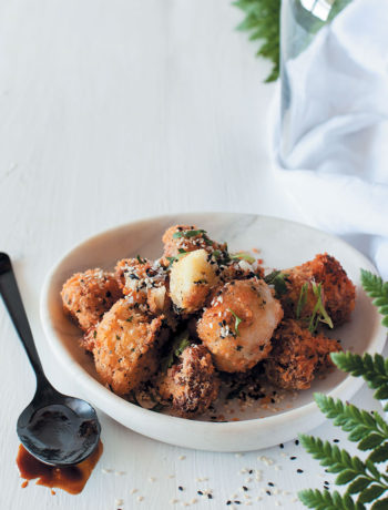 Crunchy fried cauliflower pops with sticky sesame dipping sauce