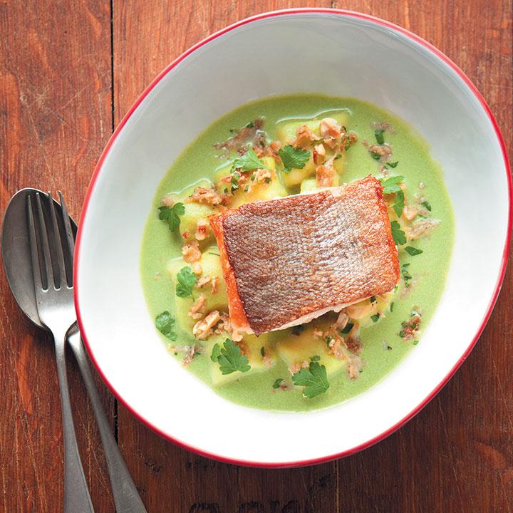 Parmesan gnocchi, crispy skinned trout and Shrek sauce - Junior Chef