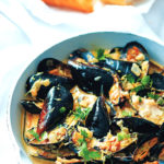 Lemony mussels steamed in white wine and cream