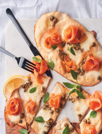 Naan pizzas with buffalo mozzarella, smoked trout and capers recipe