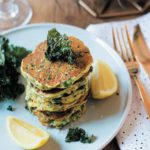 Baby marrow and kale flapjack stack