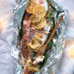 Braaied whole fish with fennel and caper butter