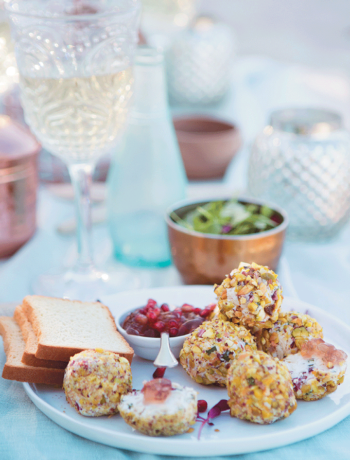 Roast chicken, cranberry and goat's cheese truffles with pomegranate wine jelly