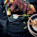 Spice-roasted lamb with mint pomegranate and lemon