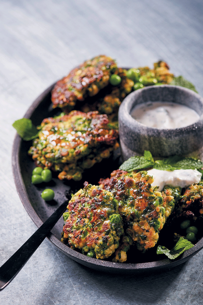 Spinach, pea and ricotta fritters with herbed yoghurt