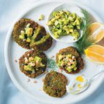 Baby marrow fritters with green salsa and coconut cream