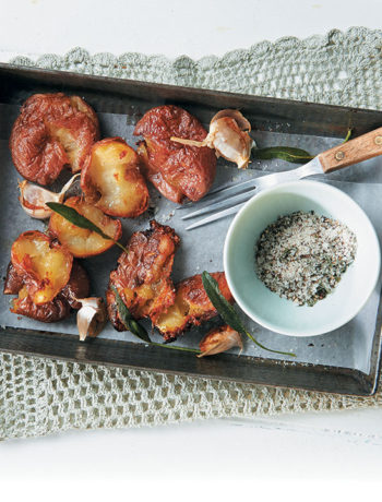 Duck-fat roasted potatoes with garlic and sage