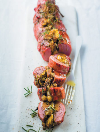 Fig, hazelnut and pesto-stuffed smoked pork fillet recipe