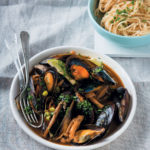 Mussels steamed in Asian miso broth
