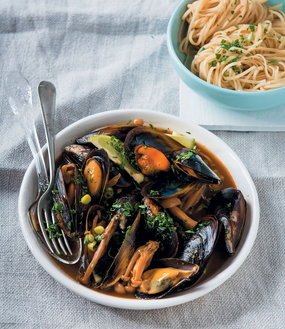 Mussels steamed in Asian miso broth recipe - Food and Home ...