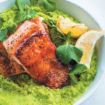 Pan-fried trout with lemony mashed peas