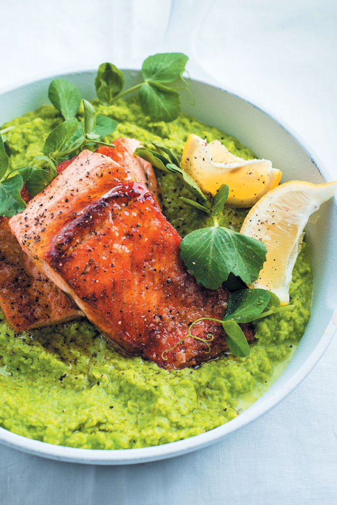 Pan-fried trout with lemony mashed peas recipe