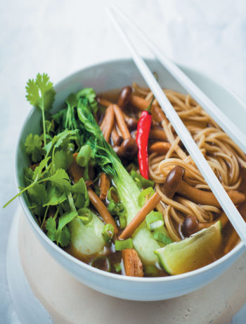 Soothing Asian broth with shimeji mushrooms and noodles recipe