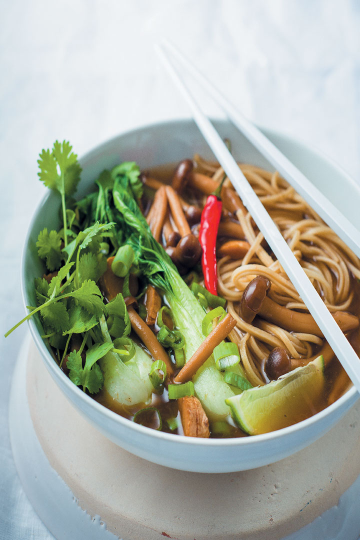 Soothing Asian broth with shimeji mushrooms and noodles is low fat ...