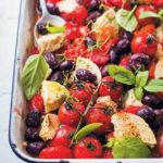 Tomato, olive and feta tray bake