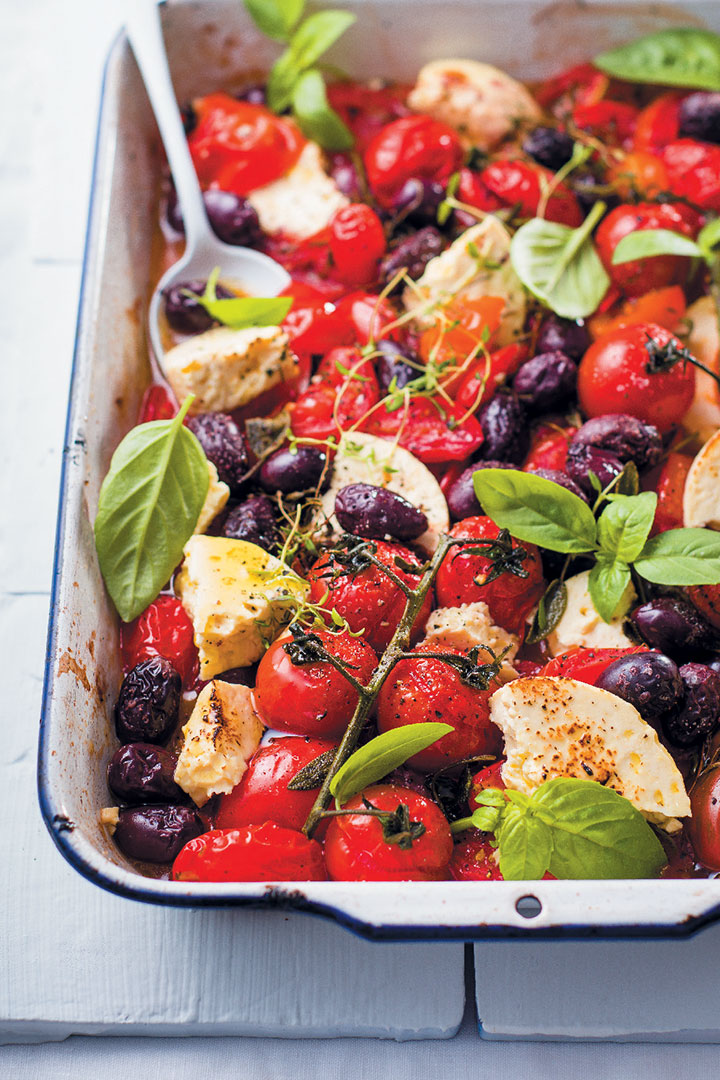 Tomato, olive and feta tray bake recipe