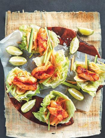 Turmeric and ginger calamari salads
