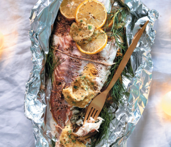 January 2017 food and wine pairing Braaied whole fish with fennel and caper butter