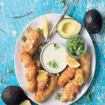 Avocado nuggets with a creamy horseradish and basil dip