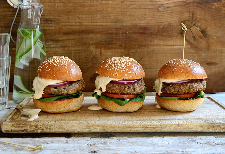 Beef burgers with mushrooms and chipotle mayo