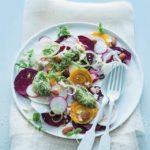 Beetroot and radish carpaccio with rocket pesto and feta