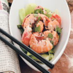 Chilli langoustine salad served with lightly pan-fried bok choy and Chinese cabbage