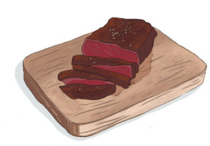 Cocoa, paprika, and coconut-rubbed steak