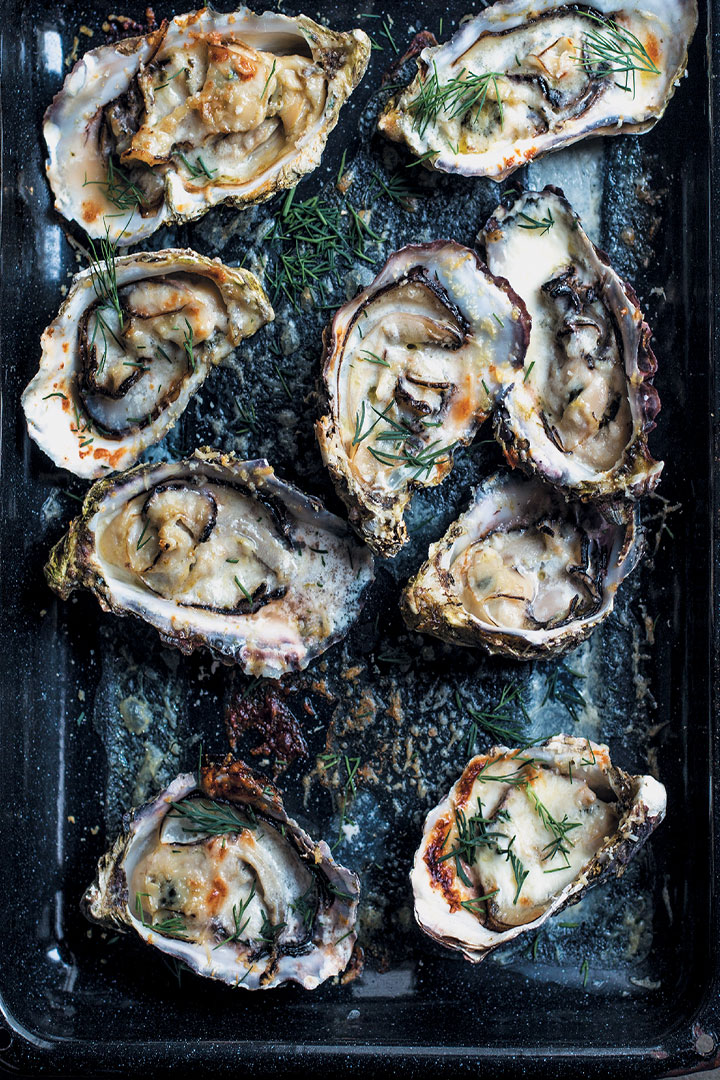 Creamy baked oysters with Parmesan and dill recipe